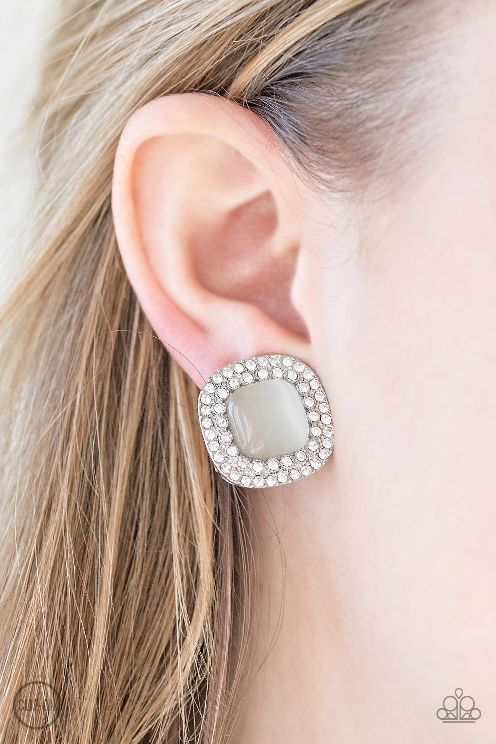 Dew What I DEW - White CLIP ONS  - Paparazzi earrings