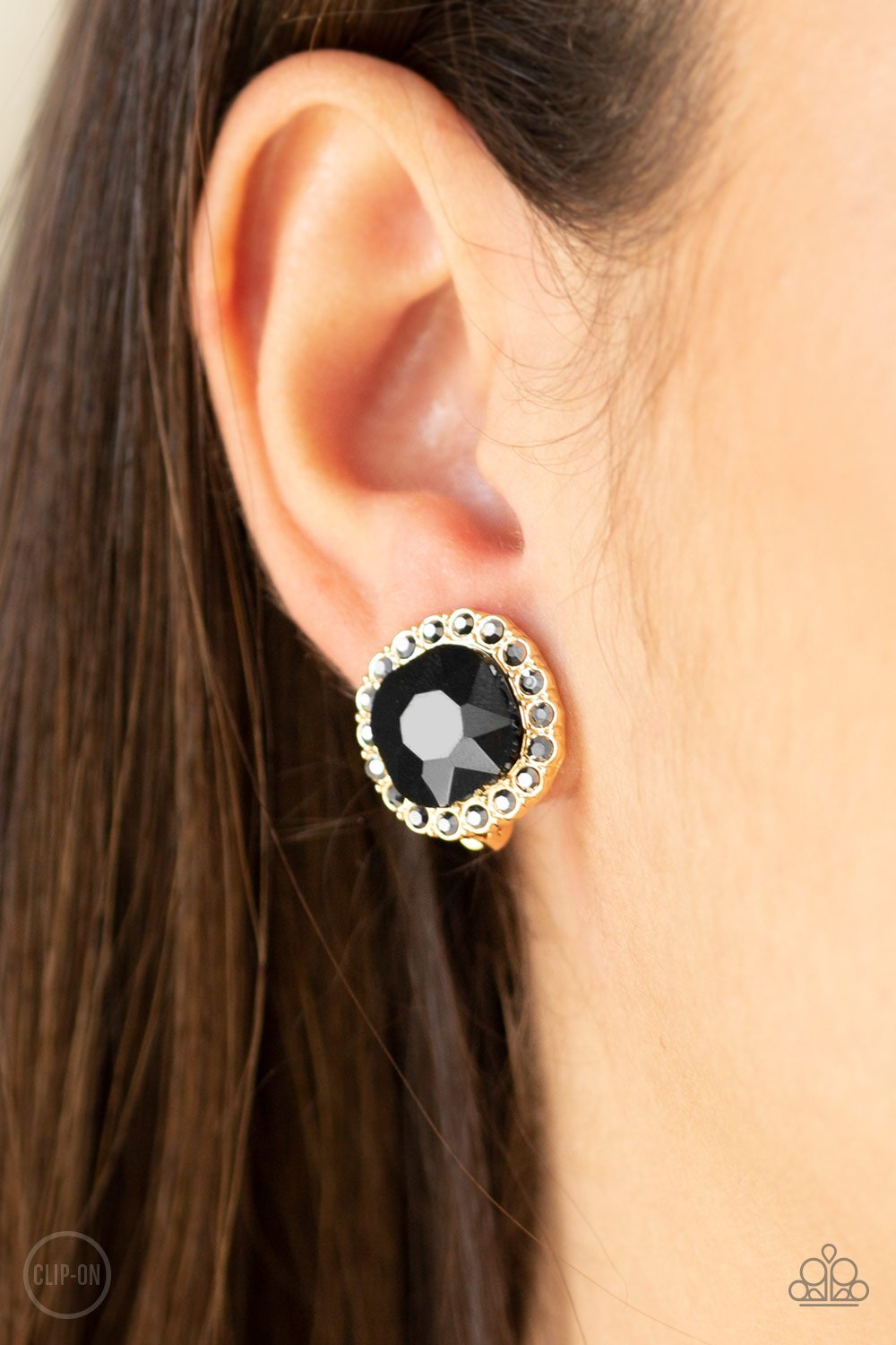 Diamond Duchess-gold-Paparazzi CLIP ON earrings
