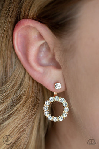 Diamond Halo-gold-Paparazzi earrings