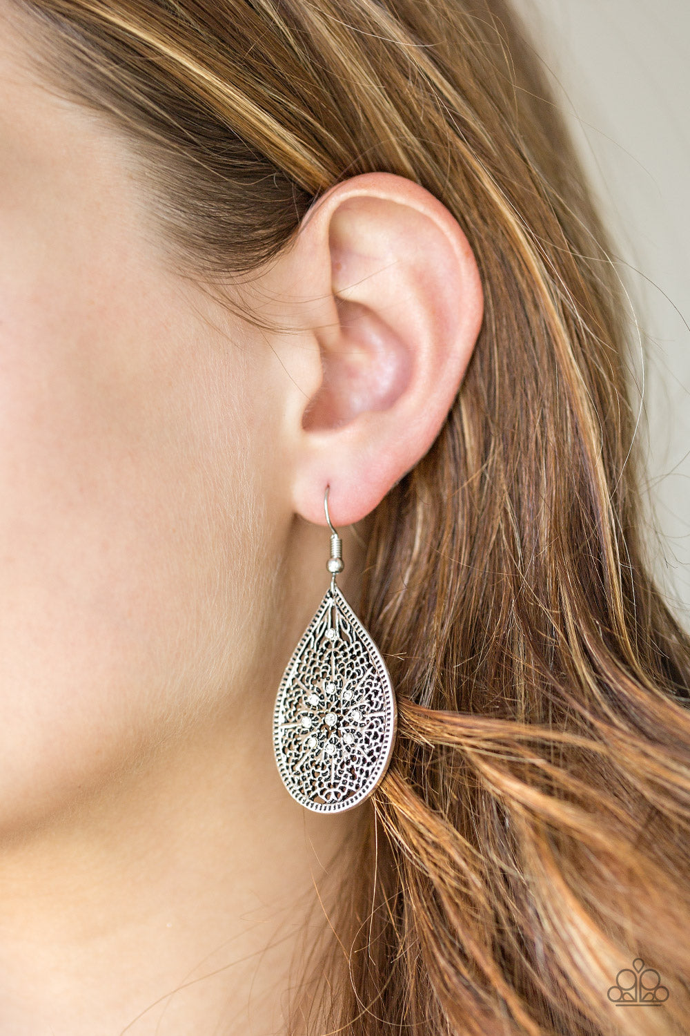 Dinner Party Posh - white - Paparazzi earrings