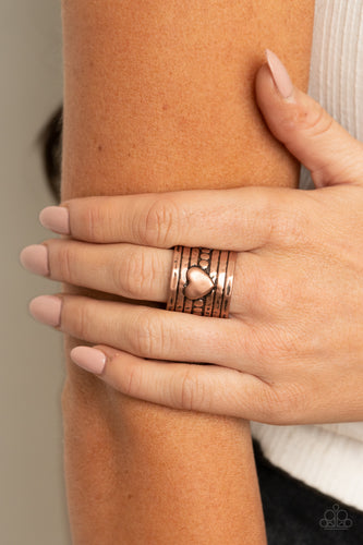 Don't Lose Heart - copper - Paparazzi ring