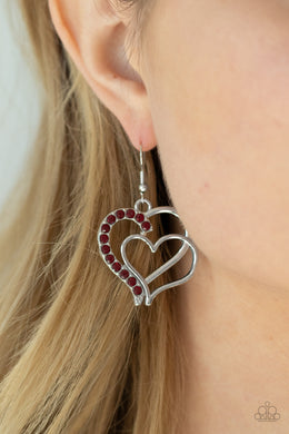 Double the Heartache - red - Paparazzi earrings