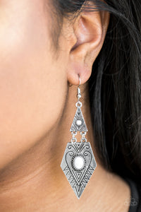 Drifting Dunes - white - Paparazzi earrings
