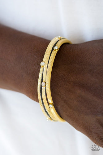 Drop a Shine-yellow-Paparazzi bracelet