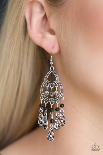 Eastern Excursion - black - Paparazzi earrings