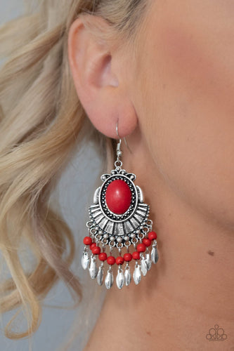 Eco Trip-red-Paparazzi earrings