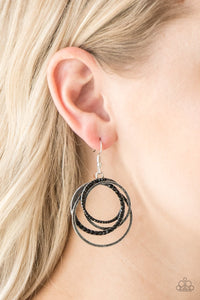 Elegantly Entangled - black - Paparazzi earrings