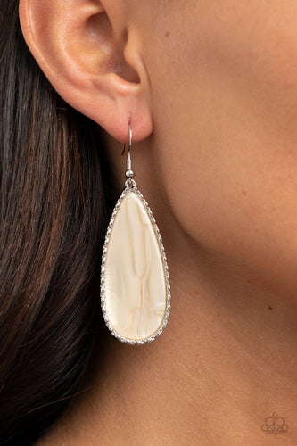 Ethereal Eloquence - white - Paparazzi earrings