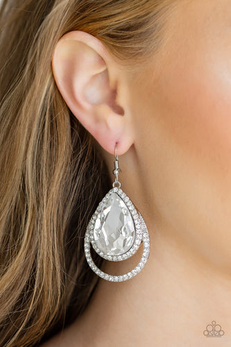 Famous - white - Paparazzi earrings