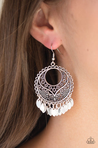Far Off Horizons-silver-Paparazzi earrings