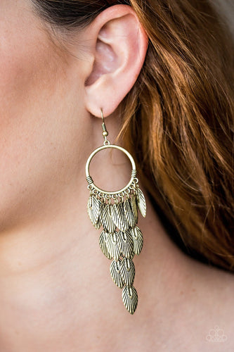 Feather Frenzy-brass-Paparazzi earrings