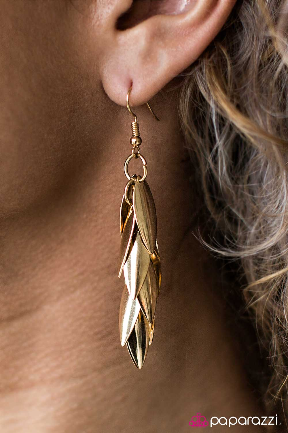 Feelin Feline - Gold - Paparazzi gold earrings