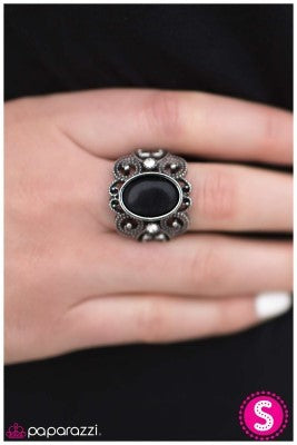 Finding Your Glass Slipper - Black -  Paparazzi ring