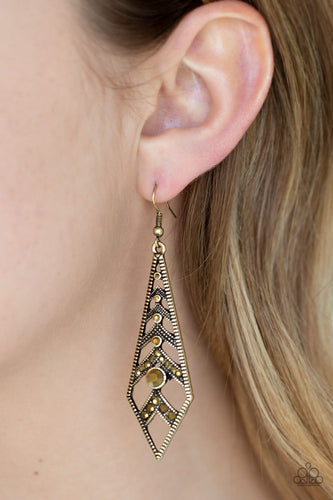 Flared Flair-brass-Paparazzi earrings