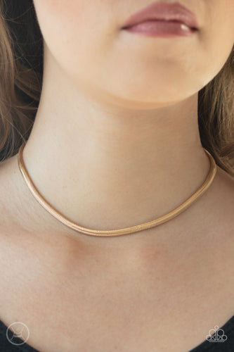 Flat Out Fierce - gold - Paparazzi necklace