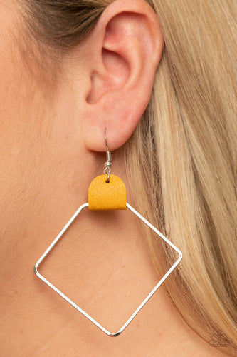 Friends of a LEATHER - yellow - Paparazzi earrings