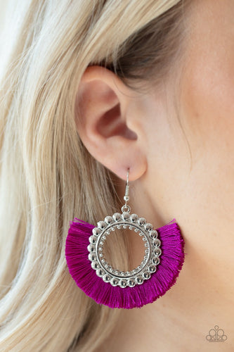 Fringe Fanatic-purple-Paparazzi earrings