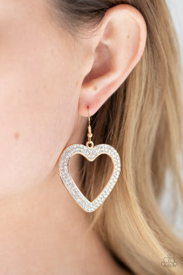 GLISTEN To Your Heart - gold - Paparazzi earrings