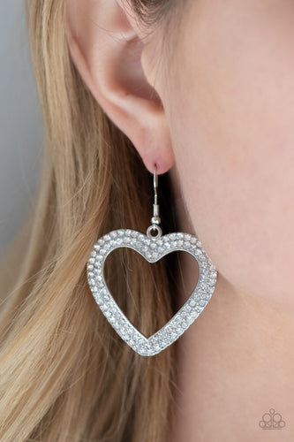 GLISTEN To Your Heart - silver - Paparazzi earrings