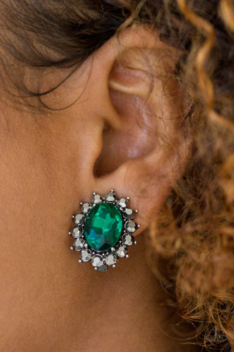 Gala Glamour - green clip ons - Paparazzi earrings