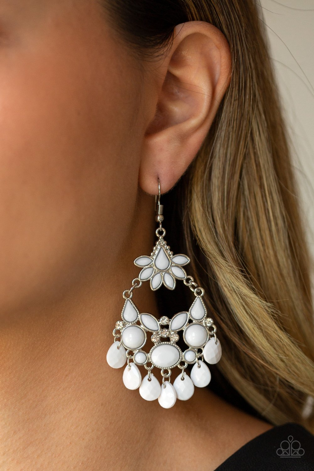 Garden Dream-white-Paparazzi earrings