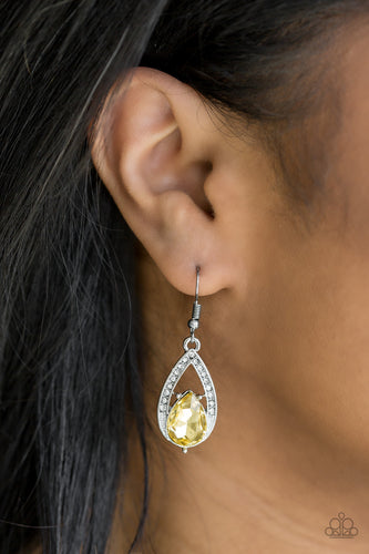Gatsby Grandeur - yellow - Paparazzi earrings