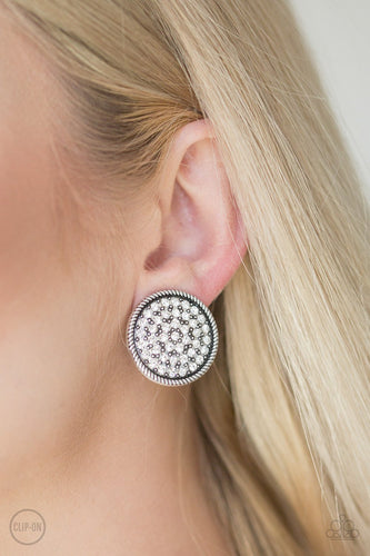 Gatsby Who-white CLIP ONS-Paparazzi earrings