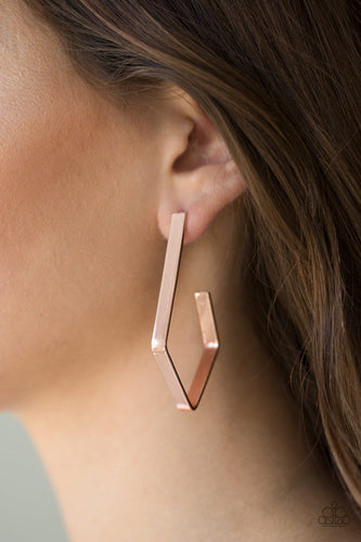Geo Grand - copper - Paparazzi earrings