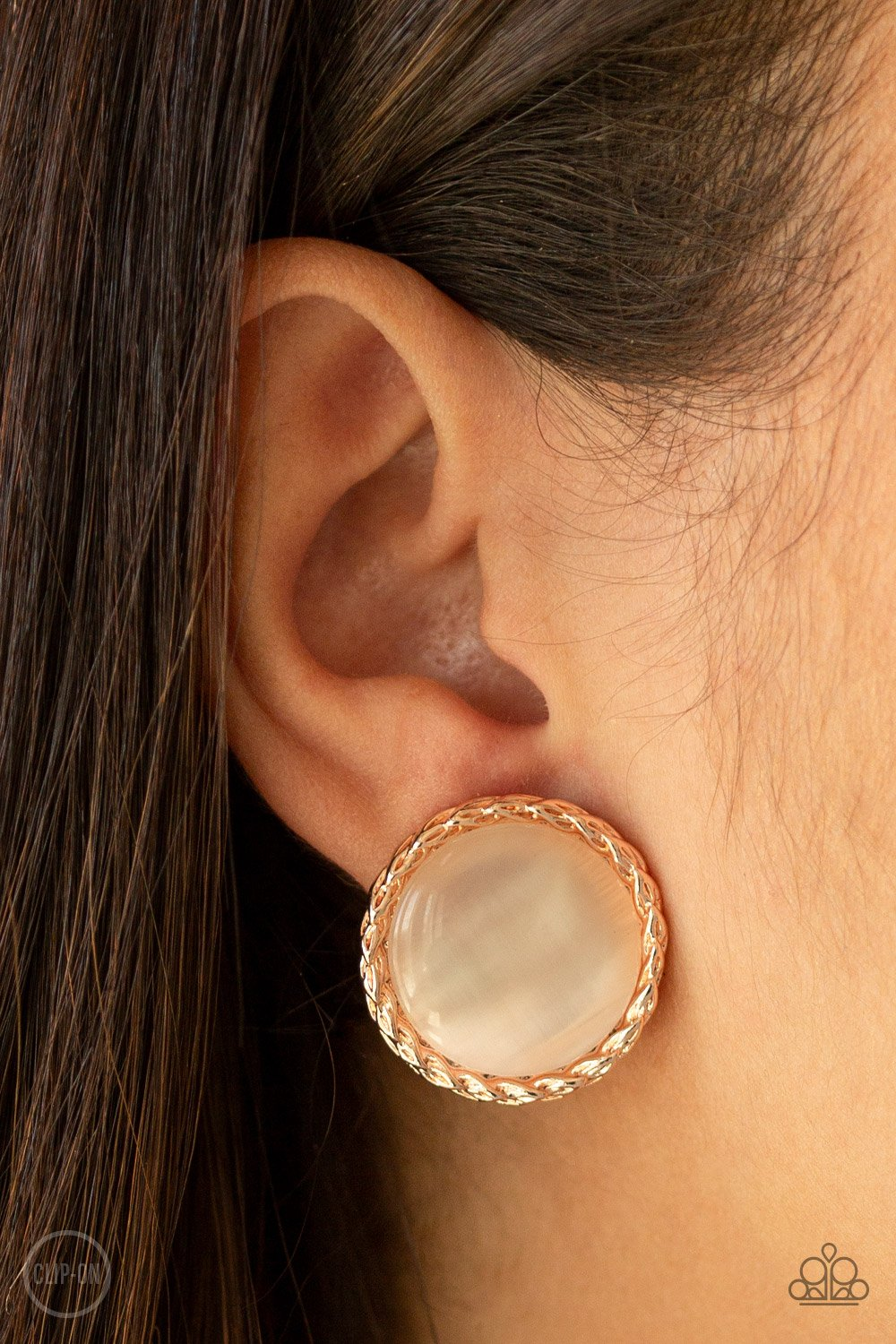 Get Up and GLOW-rose gold-Paparazzi CLIP ON earrings
