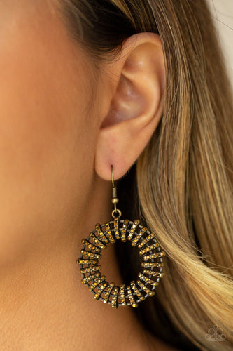 Girl of Your Gleams-brass-Paparazzi earrings