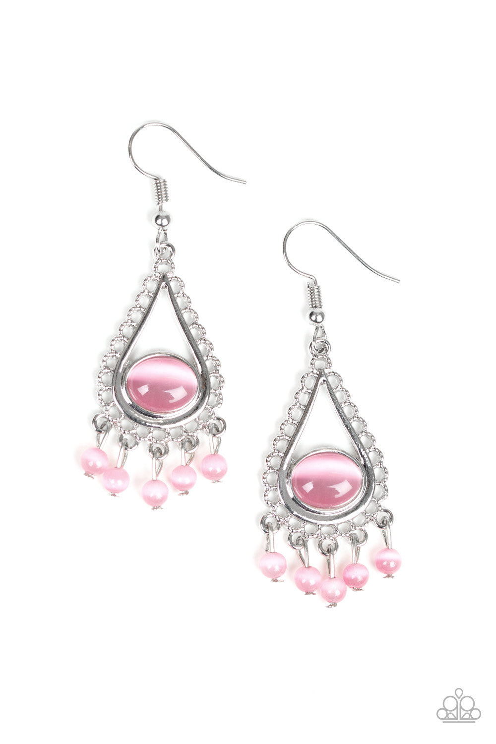 Give Me The Glow-Down - Pink - Paparazzi Earrings -8127