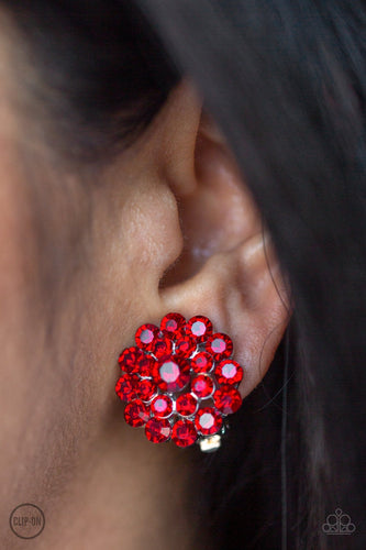 Glammed Out-red-Paparazzi CLIP ON earrings