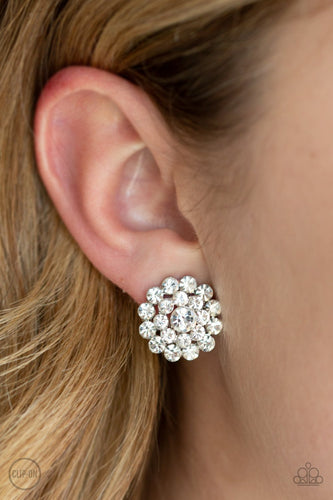 Glammed Out-white-Paparazzi CLIP ON earrings