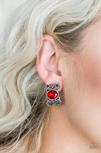 Glamorously Grand Duchess-red CLIP ONS-Paparazzi earrings