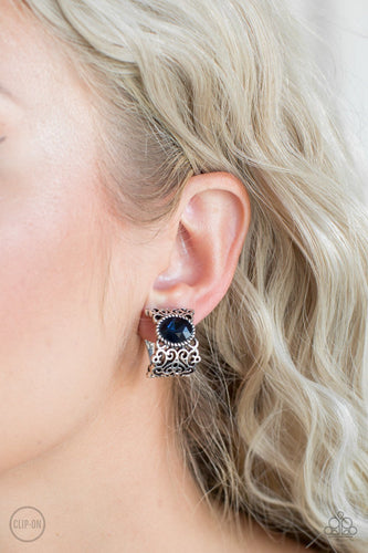 Glamourously Grand Dutchess - blue - Paparazzi CLIP ON EARRINGS