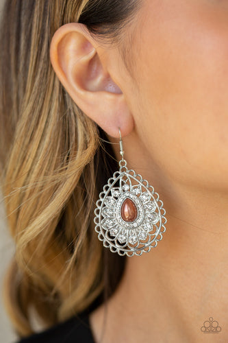 Glamour Grandeur - brown - Paparazzi earrings