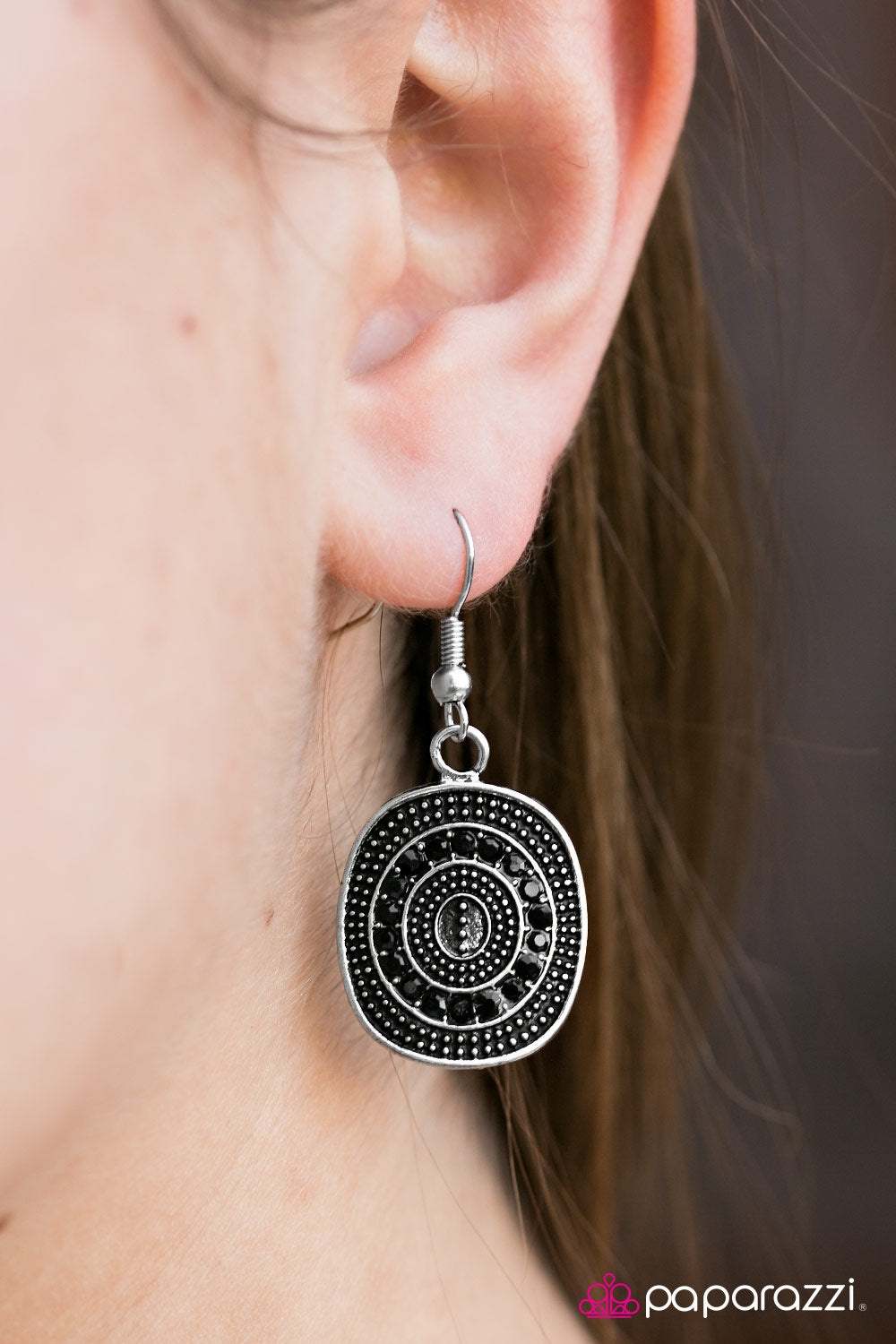 Glittery Beacons - Black - Paparazzi earrings