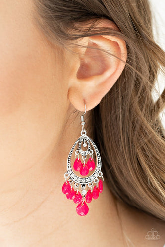 Gorgeously Genie-pink-Paparazzi earrings