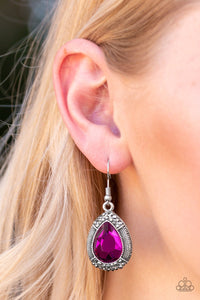 Grandmaster Shimmer-hot pink-Paparazzi earrings