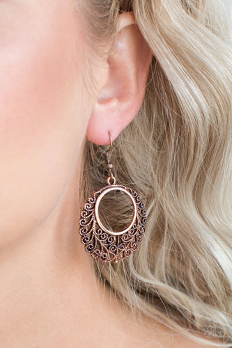 Grapevine Glamorous-copper-Paparazzi earrings