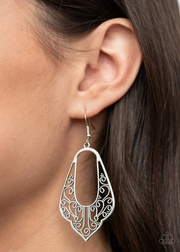 Grapevine Glamour-silver-Paparazzi earrings