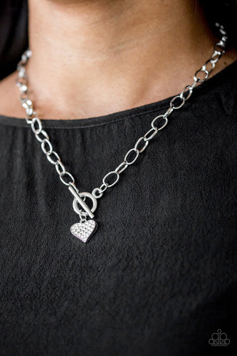Harvard Hearts - white - Paparazzi necklace