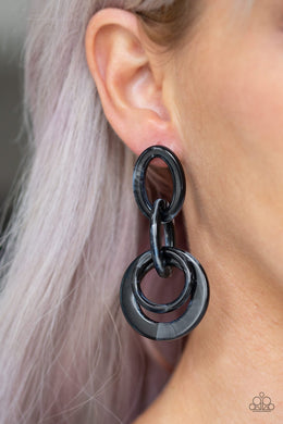 Havana Haute Spot-black-Paparazzi earrings
