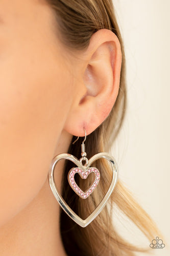 Heart Candy Couture-pink-Paparazzi earrings