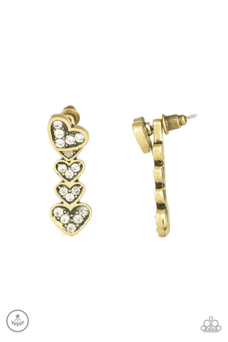 Heartthrob Twinkle-brass-Paparazzi earrings