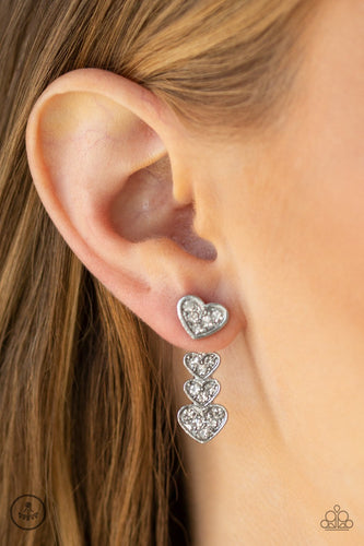 Heartthrob Twinkle-white-Paparazzi earrings