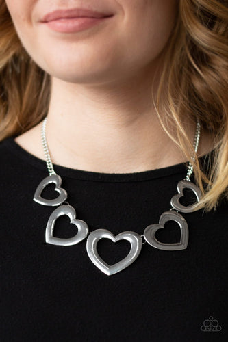 Hearty Hearts-silver-Paparazzi necklace