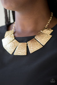 Here Comes the Huntress - gold - Paparazzi necklace