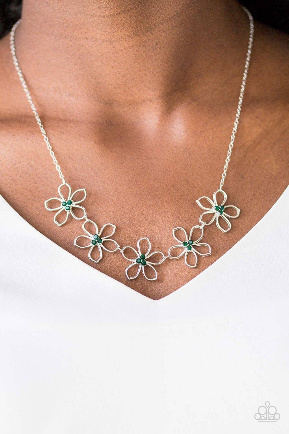 Hoppin Hibiscus - green - Paparazzi necklace