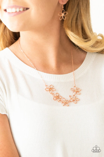 Hoppin Hibiscus-copper-Paparazzi necklace